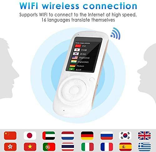 Touch Screen Intelligente Sprachübersetzungsgerät, Minihand Gleichzeitige Bidirektionale Language Translation Übersetzer (Farbe: Weiß) kyman (Color : Black)