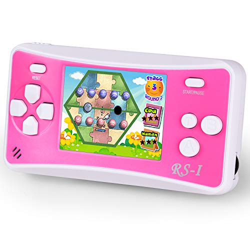 HigoKids Handheld Game Console for Children 8-Bit Retro Video Game Player with 2.5 inches LCD Screen The 80's 90's Arcade Video Gaming System Built-in 152 Classic Old School Games Entertainment-Pink