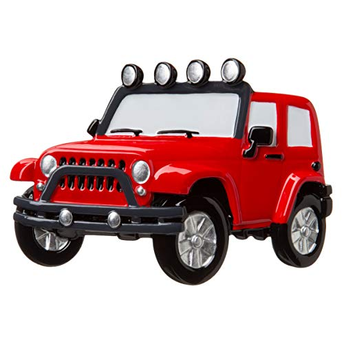 Compatible with Car_Jeep 4X4 SUV RED Personalized Christmas Tree Ornament