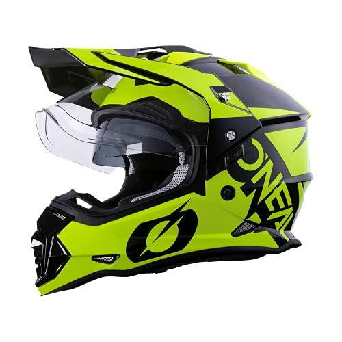 O'NEAL | Motorradhelm | Enduro Motorrad | Ventilationsöffnungen für maximalen Luftstrom & Kühlung, ABS-Schale, integrierte Sonnenblende | Sierra Helmet R | Erwachsene | Schwarz Neon Gelb | Größe M