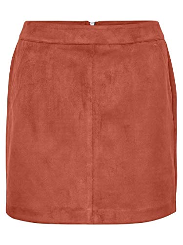 VERO MODA Damen VMDONNADINA Faux Suede Short Skirt COL Rock, Braun (Bruschetta Bruschetta), S