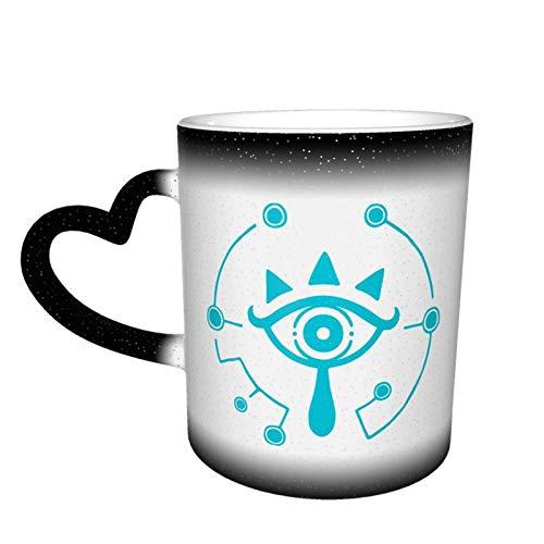 Legend of Zelda Breath of The Wild Sheikah Taza que cambia de color de ojos Gran diseño de taza de café Taza de cerámica sensible al calor, 11oz-GI