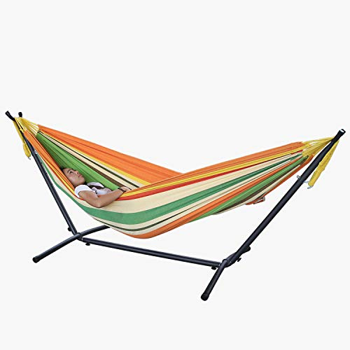 MyWheelieBin Adult Single And Double Hammock Stand Outdoor Courtyard Leisure Hammock Frame Iron Pipe Hammock Iron Frame 2.2 * 1.5m Shelf + hammock candy color