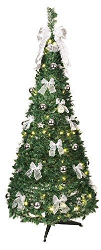 Best Season Dekorierter LED-Tannenbaum, beleuchtet circa 190 x 80 cm mit 80 warmwhite LED mit 8 Funktionen, zusammenfaltbar, silberne Dekoration Vierfarb-Karton 603-92