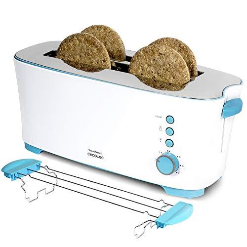 Cecotec Toast&Taste 2L - Tostadora, 7 Niveles de Potencia, Capacidad para 4 Tostadas, 3 Funciones (Tostar, Recalentar, Descongelar) Incluye Soporte Panecillos, Bandeja Recogemigas, 1350 W
