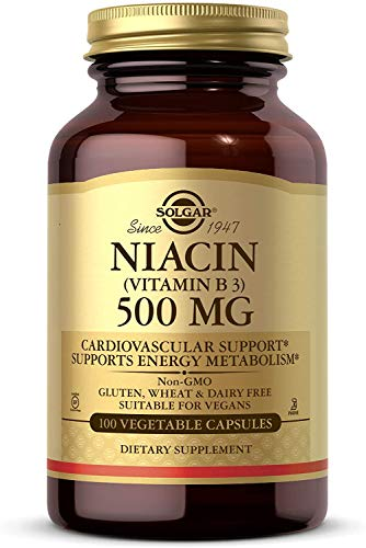 Solgar Niacin (Vitamin B3) 500 mg, 100 Vegetable Capsules - Cardiovascular Support - Energy Metabolism - Non-GMO, Vegan, Gluten Free, Dairy Free, Kosher - 100 Servings