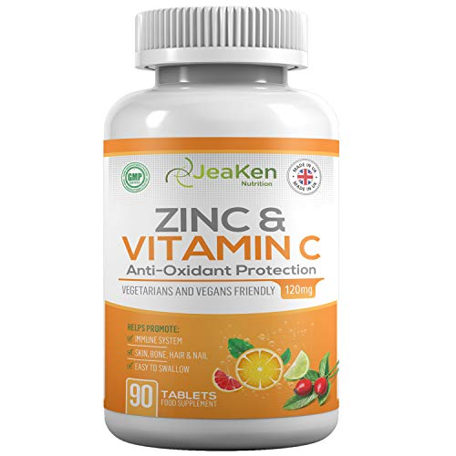 Vitamin C and ZINC Tablets - Daily Dose of Vitamin C and Zinc Supplements - Powerful Antioxidants for Maintenance of Normal Immune System Skin Hair and Fertility - 90 Vegan VIT C and Zinc Tablets