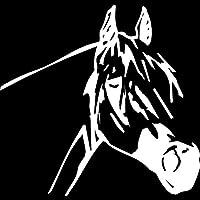 素敵なステッカー 16.6cmx15.8cm動物の馬の頭の装飾ビニール車のステッカーデカールカースタイル 車のステッカー (Color Name : Silver)