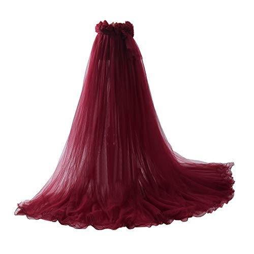 GRACEART Bodas Falda Larga de Mujer Mujeres Puffy Tutu Tulle Falda Playa Baile Fiesta (Vino Rojo)