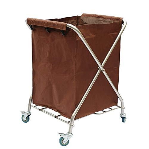 WGWJ Hochleistungsfaltwagen, fahrbarer Wäschekorb-Sortierer mit Abnehmbarer Tasche, Handelshotel-Laufkatze (Farbe: Blau)