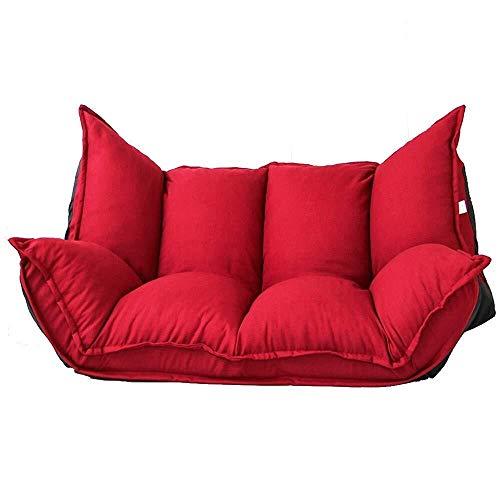 FUFU Sillas de salón para patio, sofá perezoso, plegable, tela para sala de estar, apartamento, dormitorio, doble silla de salón, duradera (color: rojo)