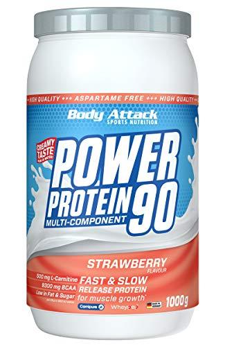 Body Attack Power Protein 90, Strawberry Cream, 1 kg, 5K Eiweißpulver mit Whey-Protein, L-Carnitin und BCAA für Muskelaufbau und Fitness