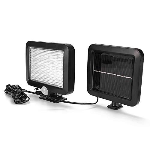 TryVictory Lámpara de seguridad solar con sensor de movimiento Pir de 56 LED de luz solar de pared, fácil de instalar, luces de pared de cerca solar de larga duración a prueba de agua para jardín
