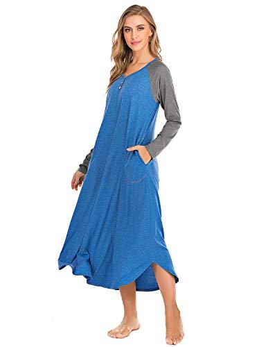 AUDATE Damen Nachthemd Stillen Lang Nachtwäsche Langarm Bodenlänge Sleepshirt Sleepwear Nachthemd Blau S