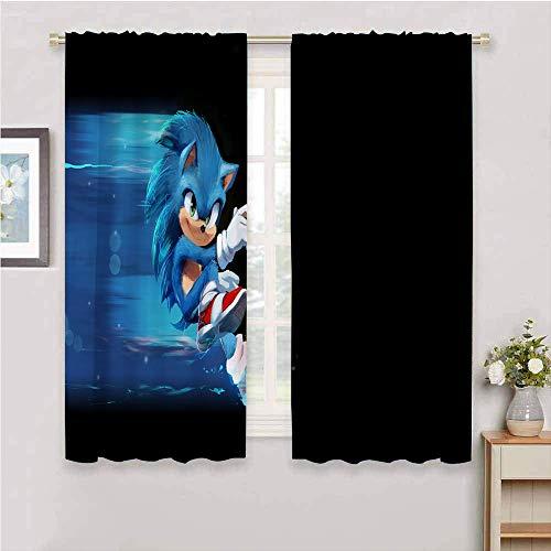 Cortinas opacas Sonic the Hedgehog para oscurecimiento de la habitación, reducción de ruido, cortina con bolsillo para barra, 132 x 163 cm