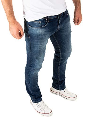 WOTEGA Herren Jeans Justin Slim fit - dunkel Blaue Denim Hose Männer Jeanshose Stretch - Used Look, Blau (Insignia Blue 194028), W29/L30