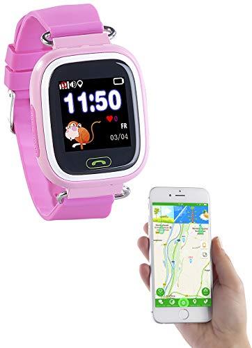 TrackerID Kinder Uhr: Kinder-Smartwatch, Telefon, GPS-, GSM-, WiFi-Tracking, SOS-Taste, rosa (Tracking Uhr Kinder)