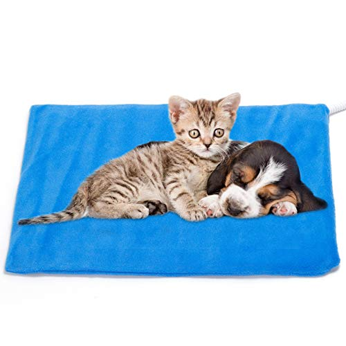 Pet Heating Pad ,Cat Dog Electric Pet Heating Pad Indoor Waterproof,Auto Constant Temperature Warming 12x15 inches Bed with Chew Resistant Steel Cord