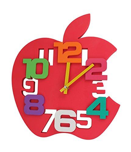 GMMH 3 D diseño 35 cm Modern Reloj de Pared Manzana 1104 Rojo