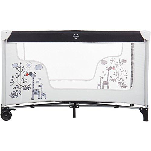 Reisebett/Babyreisebett GIRAFFE mit Rollen und Schlupfloch (Inklusive Matratze & Transporttasche) 120 x 60 cm von 0 – 5 Jahren - 4
