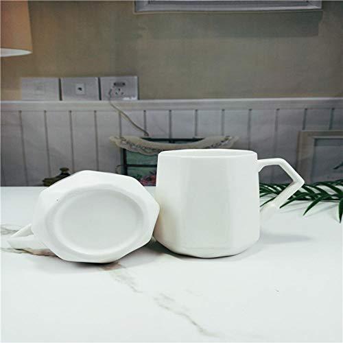 Céramique créative châtaigne d'eau octogonale blanc glacé lait tasse à thé, tasse tasse à café tasse à thé tasse d'eau-401-500 ml