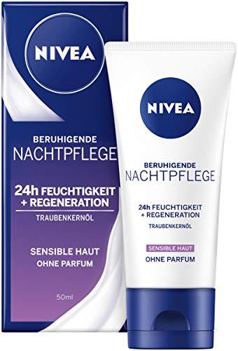 Nivea Essentials Nachtcrème met druivenpitolie en zoethoutextract in 1 pak (1 x 50 ml), parfumvrije nachtcrème voor de gevoelige huid, hydraterende crème met druivenpitolie en zoethoutextract