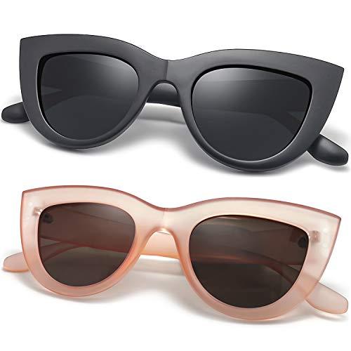 Joopin Polarizadas Retro Ojo de gato Gafas de sol - 2 Pack Moda Gafas de sol de Mujer Marco Plástico E8022