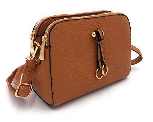 ELIOX Borsa a Tracolla Donna Piccola con 3 Scomparti Capienti - Borsa Mano PU Pelle Sintetica - Borsetta Moda Borse Spalla- Crossbody Bag (Cuoio)