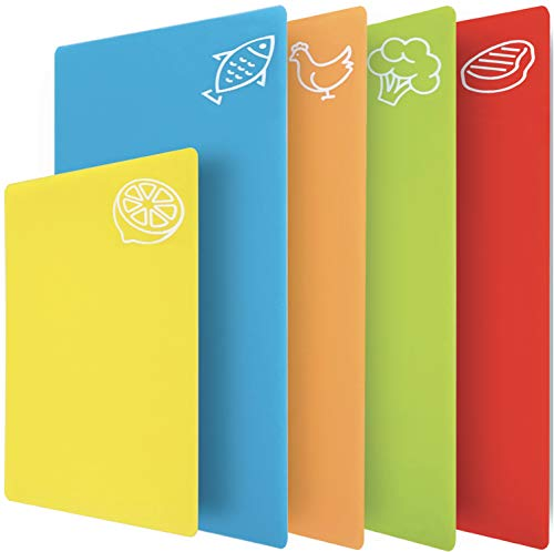 Gorilla Grip Original Set of 5 Flexible Plastic Cutting Boards, 4 Large Plus Small Board, Gripped Backing, Dishwasher Safe, Non Porous, Durable Chopping Mats, Food Icons, Multi Color