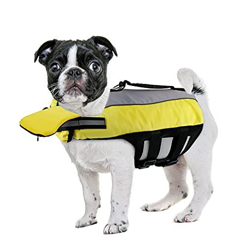 NAMSAM Hundeschwimmweste Rettungswesten für Hunde mit Kinnstütze Schwimmweste für Kleine/Mitte/Groß Hunde, Gelb - S