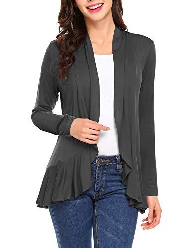 Zeagoo Women's Casual Loose Open Front Ruffle Hem Cardigan Sheer Kimono Cover Up Dark Grey XL