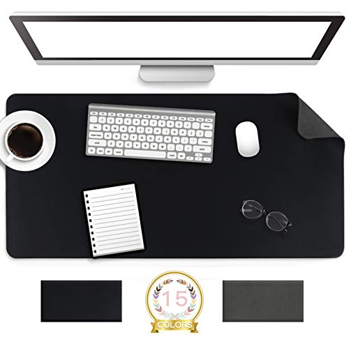 """Non-Slip Desk Pad,Mouse Pad,Waterproof PVC Leather Desk Table Protector,Ultra Thin Large Desk Blotter, Easy Clean Laptop Desk Writing Mat for Office Work/Home/Decor(Black, 31.5"""" x 15.7"""")"""