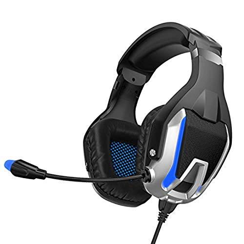 LCLC Auriculares para videojuegos, graves profundos, estéreo, con cable, micrófono con retroiluminación para PS4, teléfono, PC, portátil, orejeras suaves