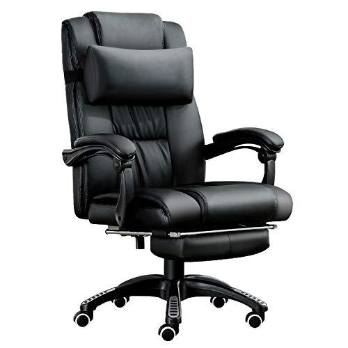 JL Comfurni Chefsessel Bürostuhl Ergonomischer Schreibtischstuhl 360°drehbar Computerstuhl höhenverstellbar Drehstuhl mit Fußstütze aus Kunstleder schwarz