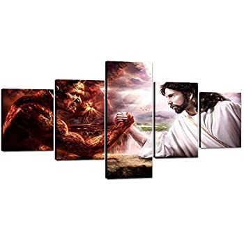 """Yatsen Bridge 5 Pieces Jesus VS Satan Wall Art Canvas Painting Jesus Christ Arm Wrestling with Devil Picture Prints Artwork for Living Room Bedroom Stretched and Framed Ready to Hang  50""""Wx24""""H"""