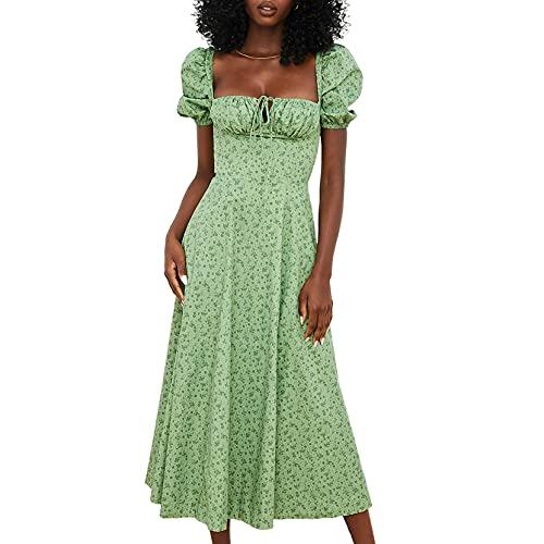 Yishengp Vestido largo elegante de manga abombada floral playa dividida vestido verano cuello cuadrado Cottagecore vestidos de fiesta, Verde 1, M