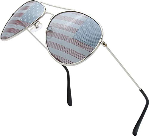 USA America American Flag Aviator Sunglasses - Exquisite Packaging Gift for 4th of July (1 pcs)