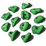 ALPIDEX 12 L Klettergriffe im Set Henkelgriffe für Kinder, können als Henkel und teilweise als Zangen gegriffen Werden, verwendbar auch als Tritte, Farbe:Natural Green