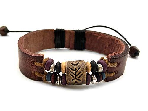 Agathe Creation - Bracelet tibetain porte bonheur - Perles bois, métal et terre cuite - Cuir et Chanvre - Multicolor - Taille sur mesure - Fait main