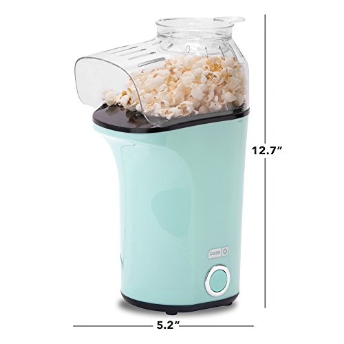 DASH Popcorn Machine: Hot Air Popcorn Popper + Popcorn Maker with Measuring Cup to Measure Popcorn Kernels + Melt Butter - Aqua