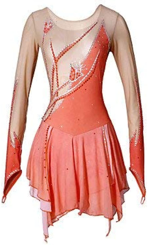 Handmade Figure Skating Dress For Girls Women Roller Skating Dress Competition Costume Long Sleeved Skating Dress orange