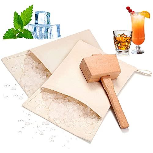Lewis Crushed Ice Bag, Professionelles Crushes Ice Dried Ice, Wiederverwendbare 2 Baumwolle Beutel und 1 Eishammer Crushed für Bar Bartender Kit Tools & Küchenzubehör (3 Pack)