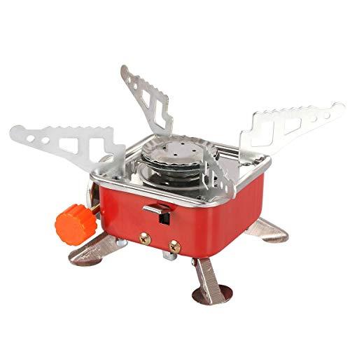Qdreclod Fornello da Campeggio a Gas Portatile Bruciatore di Cottura Pieghevole Ultraleggero Stufa Antivento con Accensione Piezoelettrica, Ideale per Escursioni, Trekking e attività all'Aperto