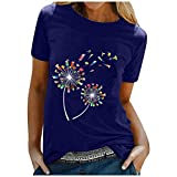 Aniywn Summer Tops for Women,Womens Short Sleeve Tops Loose T-Shirts Casual Print O-Neck Blouse Tops Funny Shirts