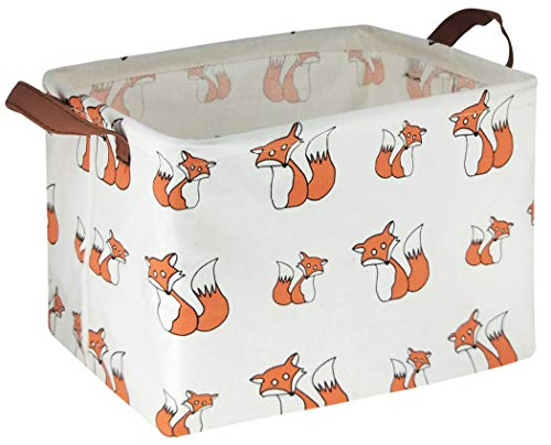 HIYAGON Rectangular Storage BoxesFabric Storage Bin OrganizerCollapsible Storage Basket for Toy ClothesBooksShelves Basket Orange Fox