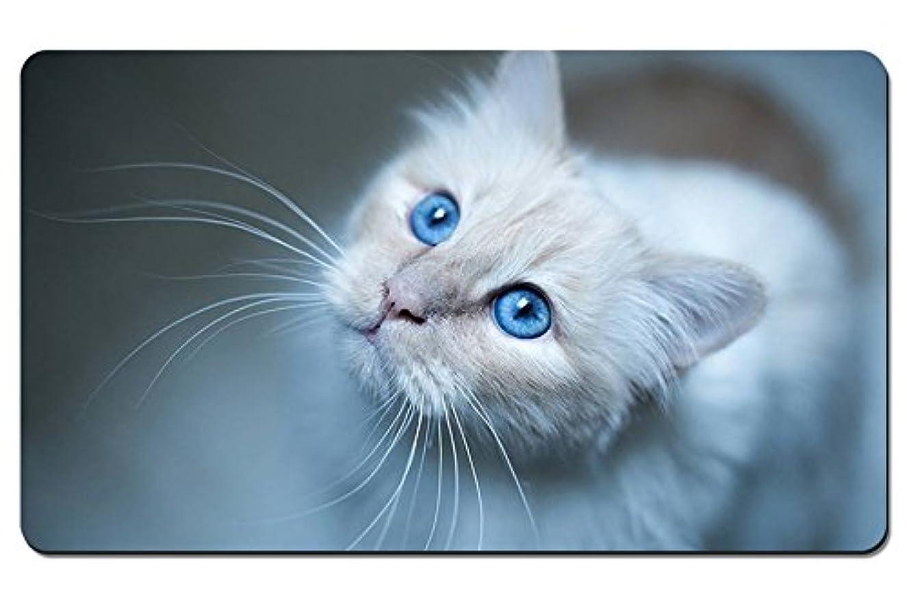 被害者作り上げるたらいビルマ猫、青い目、白い子猫 パターンカスタムの マウスパッド 動物 デスクマット 大 (60cmx35cm)