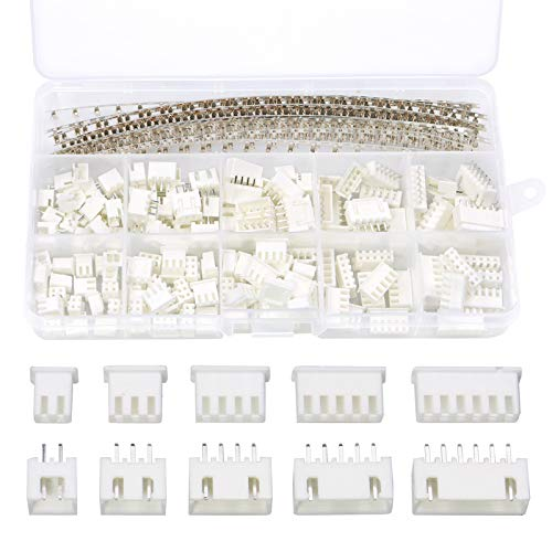 InduSKY 460 Stück JST Stecker Kit mit 2/3/4/5/6 Pin Männlich und WeiblichStecker Buchse, 2,54 mm Weiblich Metall Pin Verbinder