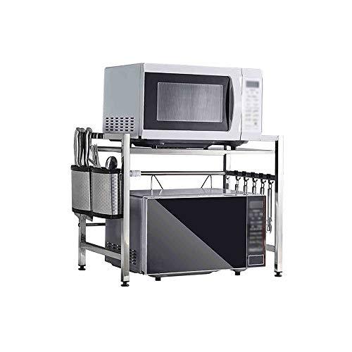 GLJJQMY Estantería de Cocina Estante de 2 Capas for Horno de microondas Estante de Cocina de Acero Inoxidable Almacenamiento (Size : 43-60x32x46cm)