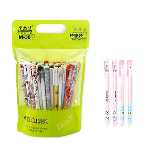 Lsgepavilion 20 bolígrafos de gel borrables de 0,35 mm, diseño de animales, color negro y azul