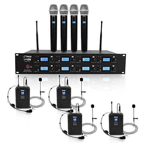 Pyle Professional 8 Channel UHF Wireless Microphone & Receiver System 4 Handheld Mics Belt Packs Transmitters Headsets & Lavalier Lapel Mics RF & AF Radio/Audio Frequency Digital Display (PDWM8225)